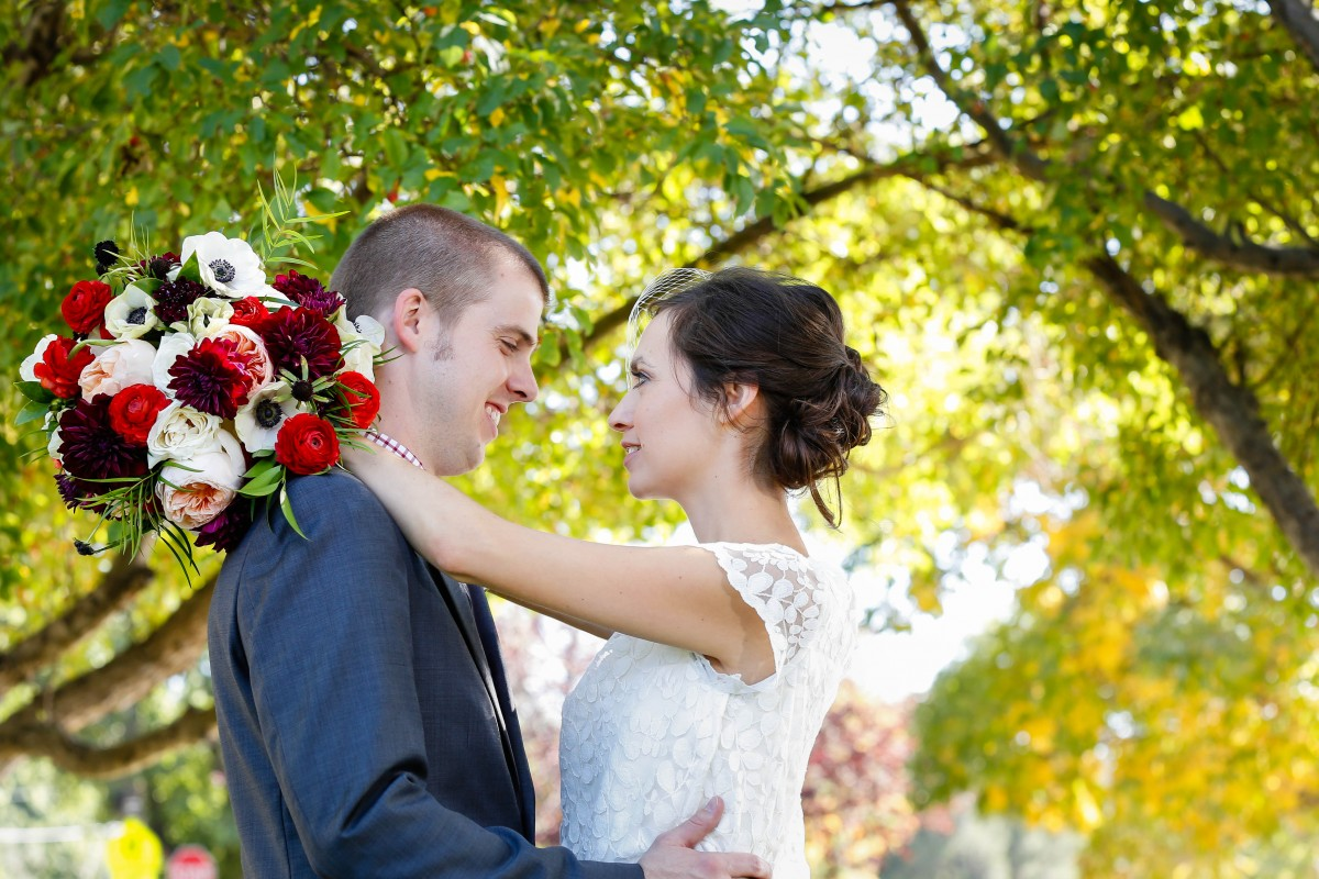 St. Mary's Littleton wedding photographer fall bride groom