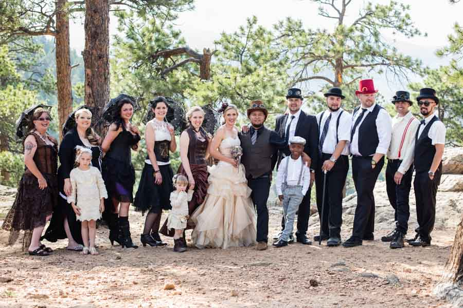 Littleton wedding photographer steampunk Lookout Mountain bridal party