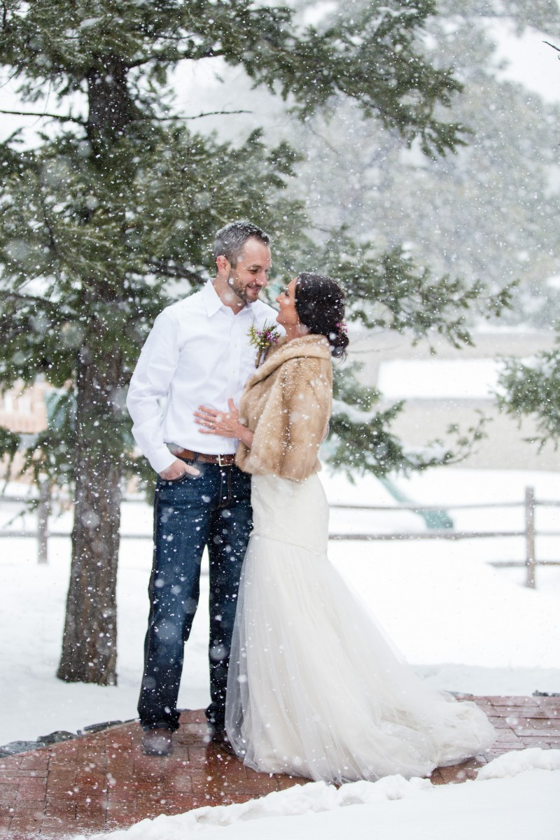 Evergreen Red Barn wedding photographer snow couples bride groom styled weddings love