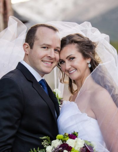 Estes Park wedding photographer bride groom veil weddings St. Malo's Church on the Rock photography